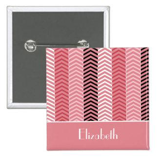 Rayas rosadas modernas elegantes y nombre de chapa cuadrada 5 cm