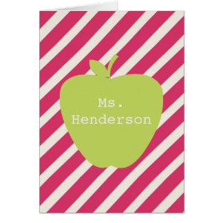 Rayas rosadas y profesor verde de Apple Felicitaciones