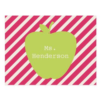 Rayas rosadas y profesor verde de Apple Tarjetas Postales