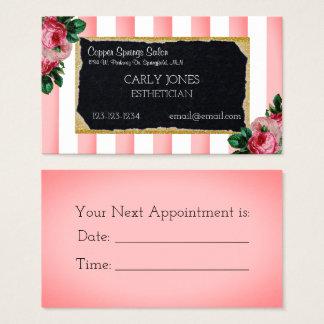 Rayas rosadas y tarjeta de visita floral
