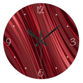 Rayas sombreadas negro rojo reloj redondo grande