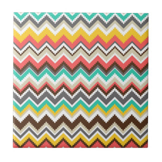 Rayas tribales aztecas coloridas del zigzag de azulejo cuadrado pequeño