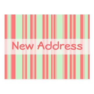 Rayas verdes anaranjadas de la nueva dirección postal