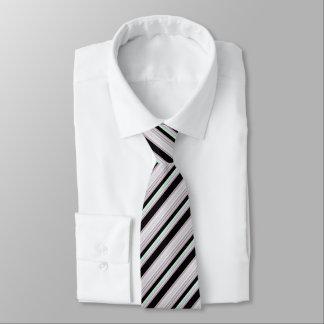 Rayas verdes claras/rojas blancas negras corbata personalizada