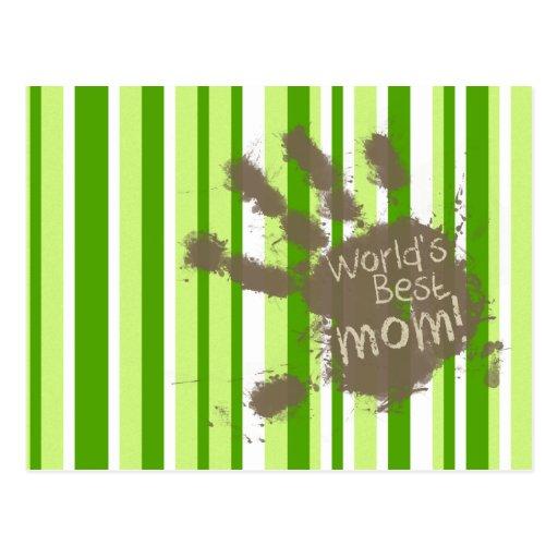 Rayas verdes; Rayado; Mamá divertida Tarjetas Postales