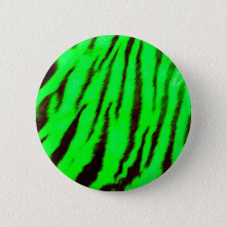 Rayas verdes salvajes y vibrantes del tigre chapa redonda de 5 cm