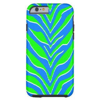 Rayas verdes y azules de neón de la cebra funda para iPhone 6 tough