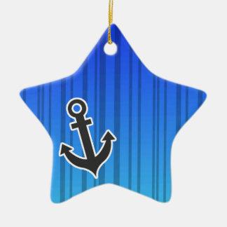 Rayas verticales azules eléctricas; Ancla náutica Ornamento De Navidad