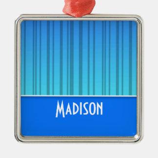 Rayas verticales azules eléctricas; Rayado Adorno Cuadrado Plateado