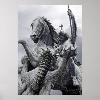 Rayas verticales del dragón en la impresión del po posters