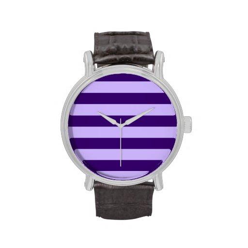 Rayas - violadas claras y violeta oscura reloj