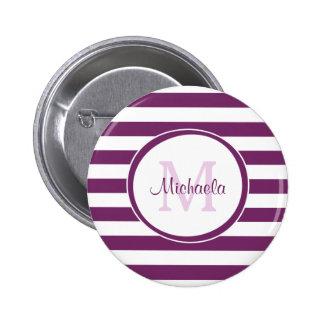 Rayas violetas del rugbi con el monograma elegante chapa redonda 5 cm