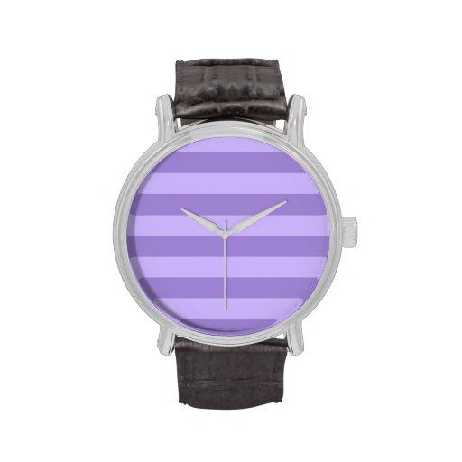 Rayas - violetas y violadas claras relojes de pulsera