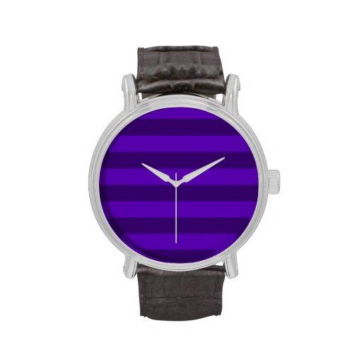 Rayas - violetas y violeta oscura relojes de pulsera