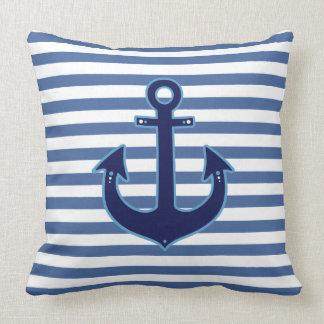 rayas y decoración náuticas de la marina de guerra cojín