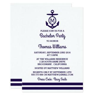 Rayas y despedida de soltero náutica del ancla del invitación 12,7 x 17,8 cm
