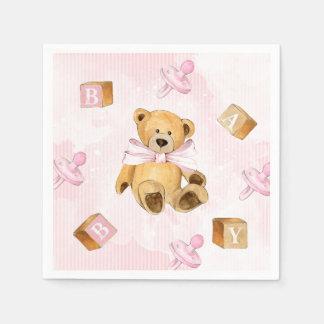 Rayas y fiesta de bienvenida al bebé rosadas de servilleta de papel