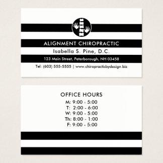 Rayas y horas de oficina del logotipo de la tarjeta de negocios