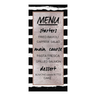Rayas y menú de la recepción nupcial de las folleto publicitario 10 x 22,8 cm