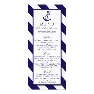 Rayas y menú náuticos del boda del ancla de los plantilla de lona