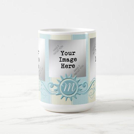 Rayas y monograma Flourish-Azules/crema Taza De Café