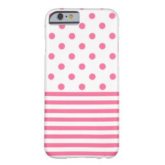 Rayas y Polkadots - iPhone rosado 6/6s, caja del Funda Barely There iPhone 6