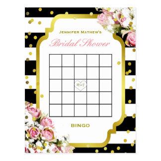Rayas y rosas nupciales del bingo el | de la ducha postal