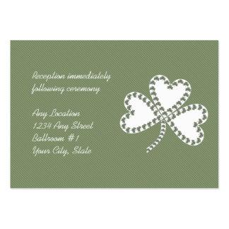 Rayas y tarjetas irlandesas de la recepción nupcia tarjetas de visita grandes