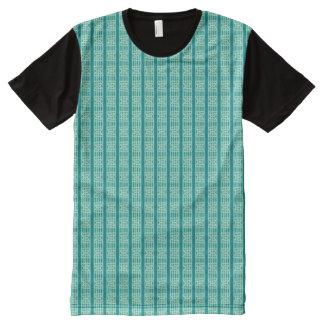 Rayas y trapezoides de la aguamarina camisetas con estampado integral