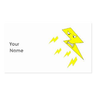 Rayo enojado. Amarillo en blanco Tarjetas De Visita