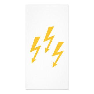 Rayos de destello amarillos tarjeta personal
