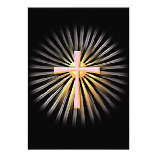 Rayos de la luz de la cruz religiosa en negro