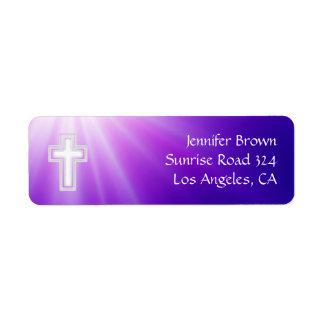 Rayos de la púrpura del cristiano el | etiqueta de remitente