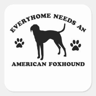 Raza americana del perro de caza del Fox Pegatina Cuadrada