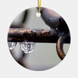 Reacción en cadena adorno navideño redondo de cerámica