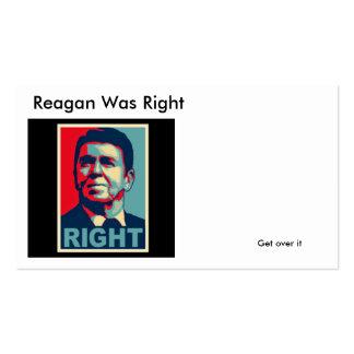 Reagan tenía razón, consigue sobre él tarjetas de visita