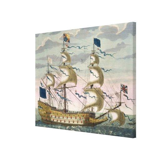Real (buque insignia) de la flota inglesa, el vola lona estirada galerías