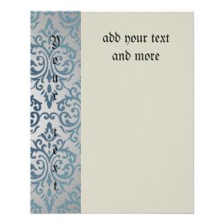 Real, vintage, plata, trullo, damasco, victorian, folleto 11,4 x 14,2 cm
