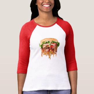Realidad contra la hamburguesa camiseta