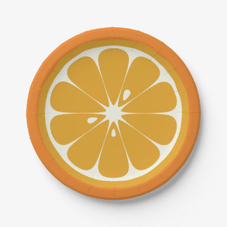 Rebanada anaranjada plato de papel
