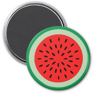 Rebanada roja y verde brillante de la sandía con imán