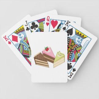 Rebanadas de la torta barajas de cartas