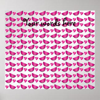 Rebanadas y corazones rosados de la sandía impresiones