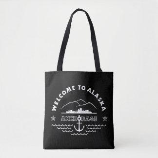 Recepción a Alaska. Anchorage - negro y logotipo Bolsa De Tela