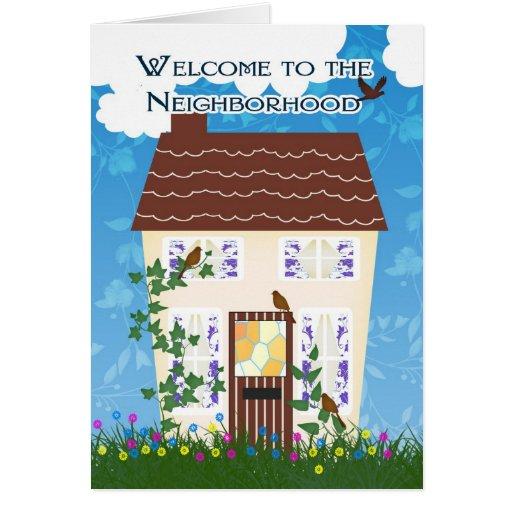 Recepción a la vecindad con la casa y las flores tarjetas