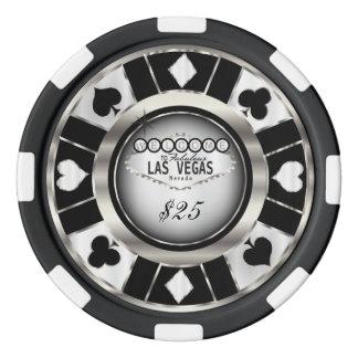 Recepción a Las Vegas - negro, plata y blanco Juego De Fichas De Póquer