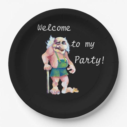 Recepción a mi fiesta - ogro escandinavo plato de papel