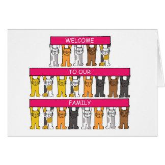 Recepción a nuestra familia, gatos del dibujo tarjeta