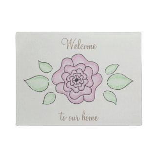 Recepción a nuestra flor rosada dibujada mano