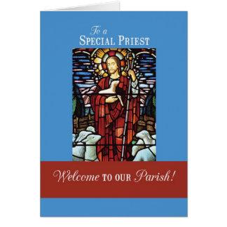 Recepción a nuestra parroquia, buen pastor del sac tarjeton
